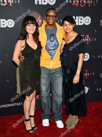 "Lawrence Gilliard Jr. and family attend the premiere of HBO Films' ""Fahrenheit 451"" at the NYU Skirball Center, in New York"
