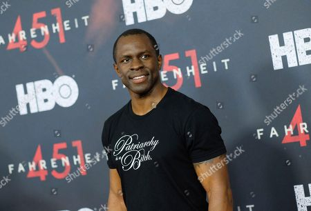 """Gbenga Akinnagbe attends the premiere of HBO Films' """"Fahrenheit 451"""" at the NYU Skirball Center, in New York"""