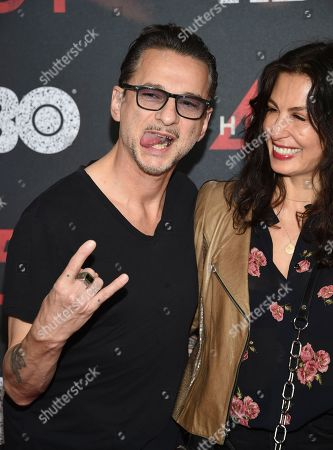 "Dave Gahan, Jennifer Sklias-Gahan. Dave Gahan and wife Jennifer Sklias-Gahan attend the premiere of HBO Films' ""Fahrenheit 451"" at the NYU Skirball Center, in New York"