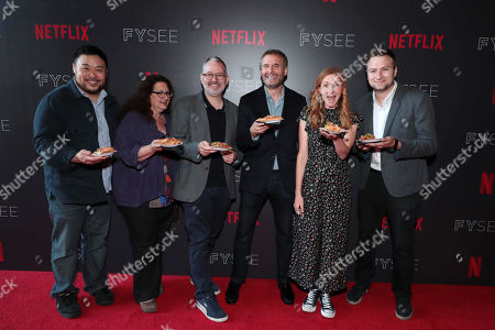 David Chang, Evan Kleiman, Morgan Neville, Phil Rosenthal, Christina Tosi and David Gelb