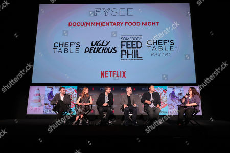 David Gelb, Christina Tosi, Phil Rosenthal, Morgan Neville, David Chang and Moderator Evan Kleiman