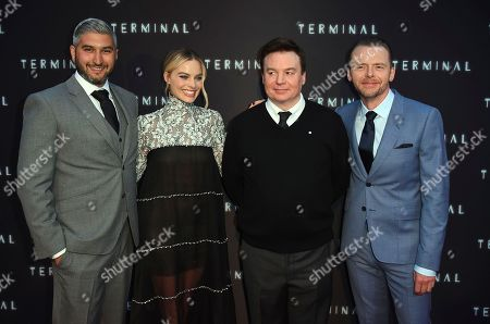 "Vaughn Stein, Margot Robbie, Mike Meyers, Simon Pegg. From left, director Vaughn Stein poses with cast members Margot Robbie, Mike Meyers and Simon Pegg at the world premiere of ""Terminal"" on in Los Angeles"