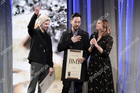Stock Photo of Brad Delson, Mike Shinoda. Brad Delson, left, and Mike Shinoda onstage at the 66th Annual BMI Pop Awards at the Beverly Wilshire Hotel, in Beverly Hills, Calif