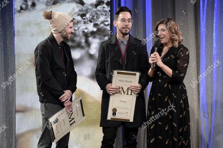 Stock Image of Brad Delson, Mike Shinoda. Brad Delson, left, and Mike Shinoda onstage at the 66th Annual BMI Pop Awards at the Beverly Wilshire Hotel, in Beverly Hills, Calif