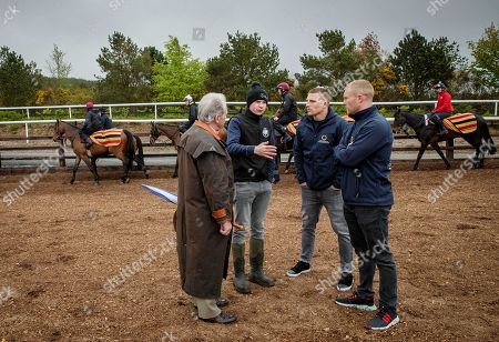 Ireland and Munster rugby stars, Keith Earls and Andrew Conway, visited Joseph O'Brien's yard today in Kilkenny to meet the horse Apparition. Keith and Andrew, along with Conor Murray, Fergus McFadden and Sean Cronin are all part of the exciting new Rugby and Racing syndicate that was set up in early 2018 and is run by former Munster player, Johne Murphy. The Rugby and Racing syndicate members and Horse Racing Ireland are promoting syndicated racehorse ownership as part of its wider ?Experience it? campaign, offering horse racing fans and their friends the opportunity to trial racehorse ownership. Visit racehorseownership.ie to find out more information on the opportunities of ownership and syndication. Pictured today is Con McNamara with trainer Joseph O'Brien, Andrew Conway and Keith Earls