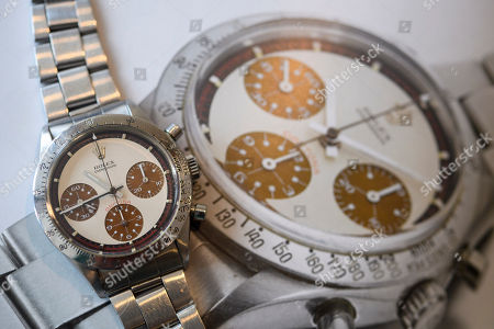The Rolex Daytona 'Paul Newman' wristwatch with rare 'Tropical' Dial, which is estimated to sell between 208,000 to 416,000 US Dollar, during a preview at the Sotheby's, in Geneva, Switzerland, 09 May 2018. The auction will take place in Geneva on 13 May 2018.