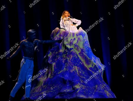 Julia Samoylova from Russia performs the song 'I Won't Break' in Lisbon, Portugal, during a dress rehearsal for the Eurovision Song Contest. The Eurovision Song Contest semifinals take place in Lisbon on Tuesday, May 8 and Thursday, May 10, the grand final on Saturday May 12, 2018