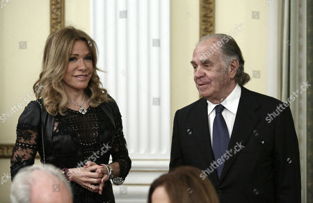 Stock Photo of Marianna Latsi and Theo Angelopoulos during the official state dinner at the Presidential Mansion