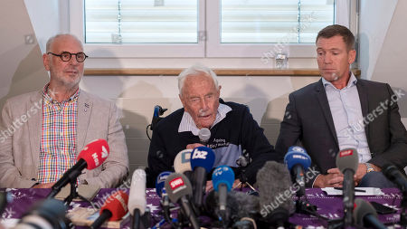 Stock Photo of (L-R) Philip Nitschke, founder and director of the pro-euthanasia group Exit International, 104-year-old Australian scientist David Goodall and lawyer Moritz Gall, during the press conference a day before Goodall's assisted suicide in Basel, Switzerland, 09 May 2018. The 104-year-old, Australia's oldest scientis, travelled to Switzerland where he has chosen to die by voluntary euthanasia on 10 May.