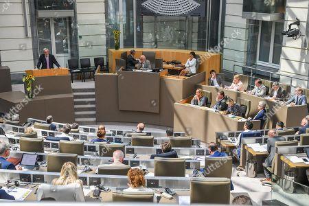 Editorial image of Jean-Claude Juncker visits the Flemish parliament, Belgium - 09 May 2018