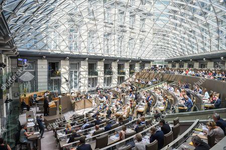 Editorial picture of Jean-Claude Juncker visits the Flemish parliament, Belgium - 09 May 2018