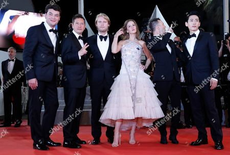 (L-R) Producer Charles-Evrard Tchekhoff, Director of Photography Vladislav Opeliants, Producer Ilya Stewart, Russian actress Irina Starshenbaum, Russian actor Roma Zver and German actor Teo Yoo arrive for the screening of 'Leto' during the 71st annual Cannes Film Festival, in Cannes, France, 09 May 2018. for the screening of 'Leto' during the 71st annual Cannes Film Festival, in Cannes, France, 09 May 2018. The movie is presented in the Official Competition of the festival which runs from 08 to 19 May.