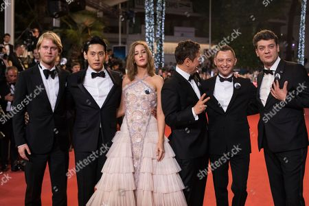 Charles-Evrard Tchekhoff, Roma Zver, Irina Starshenbaum, Teo Yoo, Vladislav Opelyants, Ilya Stewart, Kirill Serebrennikov. Actors Teo Yoo, Irina Starshenbaum, Roman Bilyk, cinematographer Vladislav Opelyants, producers Ilya Stewart and Charles-Evrard Tchekhoff pose for photographers upon arrival at the premiere of the film 'Leto' at the 71st international film festival, Cannes, southern France