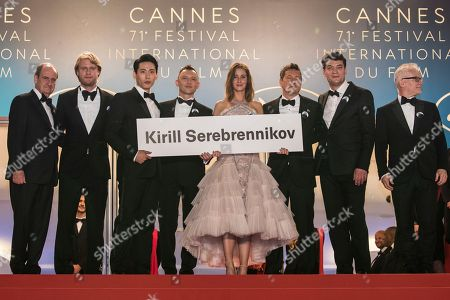 Charles-Evrard Tchekhoff, Roma Zver, Irina Starshenbaum, Teo Yoo, Vladislav Opelyants, Ilya Stewart, Kirill Serebrennikov, Pierre Lescure, Thierry Fremaux. Actress Irina Starshenbaum, centre, holds a sign with the name of the banned director, Kirill Serebrennikov, as she poses with president of the festival Pierre Lescure, Producer Ilya Stewart, actors Roman Bilyk, actor Teo Yoo, Cannes Film Festival Director Thierry Fremaux, actor Charles-Evrard Tchekhoff and cinematographer Vladislav Opelyants upon arrival at the premiere of the film 'Leto' at the 71st international film festival, Cannes, southern France