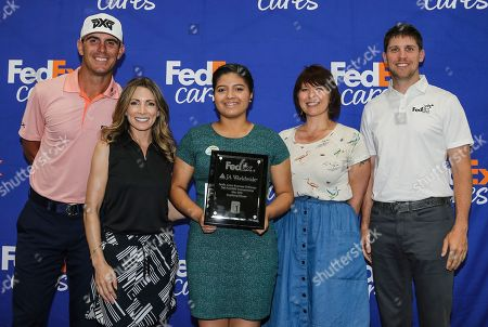 Rosa Santos from JA of North Florida and winner of the FedEx Junior Business Challenge qualifying event at THE PLAYERS Championship poses with panel judges Billy Horschel (2014 FedExCup champion), Denny Hamlin (2016 Daytona 500 winner), Shannon Miller (7x Olympic medal gymnast) and Mary Lynn Schroeder (In Blue Handmade founder and FedEx Small Business Grant winner). Santos will advance to the FedEx Junior Business Challenge finals at the TOUR Championship for the chance to generate a $75,000 donation from FedEx to their local JA chapter., in Ponte Vedra Beach, Fla