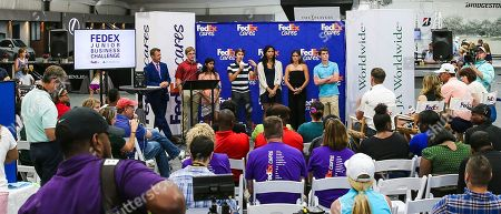 Students from JA of North Florida present original business ideas to a star-studded group of judges during the FedEx Junior Business Challenge at THE PLAYERS Championship. Billy Horschel (2014 FedExCup champion), Denny Hamlin (2016 Daytona 500 winner), Shannon Miller (7x Olympic medal gymnast) and Mary Lynn Schroeder (In Blue Handmade founder and FedEx Small Business Grant winner) participated as judges at the event, selecting one student group to advance to the FedEx Junior Business Challenge finals for the chance to generate a $75,000 donation from FedEx to their local JA chapter., in Ponte Vedra Beach, Fla