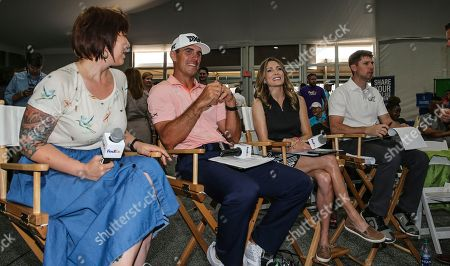 Panel judges Billy Horschel (2014 FedExCup champion), Denny Hamlin (2016 Daytona 500 winner), Shannon Miller (7x Olympic medal gymnast) and Mary Lynn Schroeder (In Blue Handmade founder and FedEx Small Business Grant winner) listen to business pitches from JA of North Florida students during the FedEx Junior Business Challenge qualifying event at THE PLAYERS Championship. The panel helped select one group to advance to the FedEx Junior Business Challenge finals at the TOUR championship for the chance to earn a $75,000 donation from FedEx to their local JA chapter., in Ponte Vedra Beach, Fla