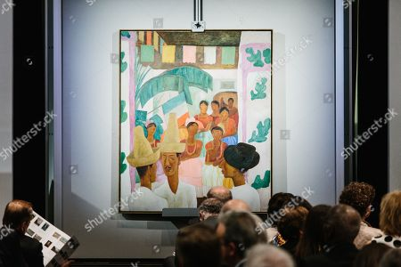 The painting 'The Rivals' by artist Diego Rivera is displayed during the sales event of The Collection of Peggy and David Rockefeller at Christie's auction house in New York, New York, USA, 09 May 2018. The artwork is part of the 'Collection of Peggy and David Rockefeller: 19th and 20th Century Art Evening Sale' that will place in New York from 08 to 10 May 2018.