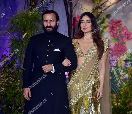 Indian film actress Kareena Kapoor Khan with husband Saif Ali Khan