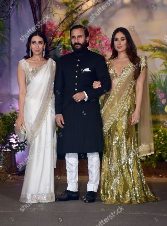 Indian film actress Karisma Kapoor with Saif Ali Khan and Kareena Kapoor Khan