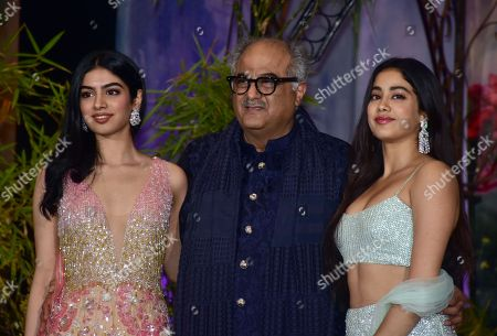 Indian film producer Boney Kapoor with his younger daughters Khushi Kapoor and Janhvi Kapoor