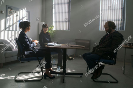(Ep 3) - Adrian Rawlins as Rob, Angel Coulby as DI Cathy Hudson and Zahra Ahmadi as DC Mari-luz-Garcia.