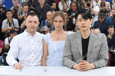 Roma Zver, Irina Starshenbaum, Teo Yoo. Actors Roma Zver, from left, Irina Starshenbaum and Teo Yoo pose for photographers during a photo call for the film 'Leto' at the 71st international film festival, Cannes, southern France