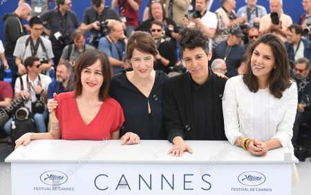 Jeanne Lapoirie, Ursula Meier, Marie Amachoukeli, Iris Brey. Jury members Jeanne Lapoirie, from left, Ursula Meier, Marie Amachoukeli and Iris Brey pose for photographers during a photo call for the Camera d'or jury at the 71st international film festival, Cannes, southern France