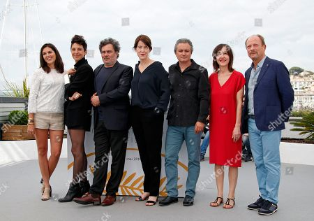 (L-R) Iris Brey, Marie Amachoukeli, Jean-Marie Larieu, Ursula Meier, Arnaud Larrieu, Jeanne Lapoirie and Sylvain Fage pose during the Camera D'or Jury Photocall at the 71st annual Cannes Film Festival, in Cannes, France, 10 May 2018. The festival runs from 08 to 19 May.
