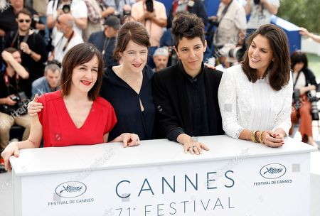 (R-L) Iris Brey, Marie Amachoukeli, Ursula Meier and Jeanne Lapoirie pose during the Camera D'or Jury Photocall at the 71st annual Cannes Film Festival, in Cannes, France, 10 May 2018. The festival runs from 08 to 19 May.