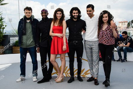 (L-R) French director Antoine Desrosiers, French actor Elis Gardiole, French actress Inas Chanti, French actor Mehdi Dahmane, French actor Sidi Mejai and French actress Souad Arsane pose during the photocall for 'Sextape (A Genoux Les Gars)' at the 71st annual Cannes Film Festival, in Cannes, France, 10 May 2018. The movie is presented in the section Un Certain Regard of the festival which runs from 08 to 19 May.