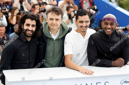 Stock Image of (R-L) French actor Elis Gardiole, French actor Sidi Mejai, French director Antoine Desrosiers and French actor Mehdi Dahmane poseduring the photocall for 'Sextape (A Genoux Les Gars)' at the 71st annual Cannes Film Festival, in Cannes, France, 10 May 2018. The movie is presented in the section Un Certain Regard of the festival which runs from 08 to 19 May.