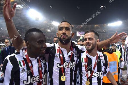 Blaise Matuidi Medhi Benatia and Miralem Pjanic celebrating the victory