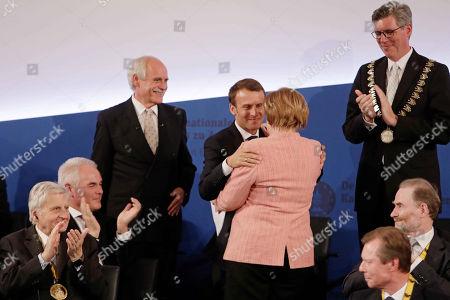 Juergen Linden, Emmanuel Macron, Angela Merkel, Marcel Philipp