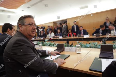 Spanish Home Minister, Juan Ignacio Zoido, during the anti-terrorist pact meeting held to analyze the announcement of ETA terrorist band dissolution, in Madrid, Spain, 10 May 2018.