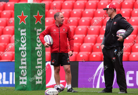 Stock Image of Director of Rugby David Humphreys with head coach Johan Ackermann