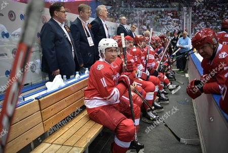 Editorial picture of Vladimir Putin takes part in a gala ice hockey match, Sochi, Russian Federation - 10 May 2018