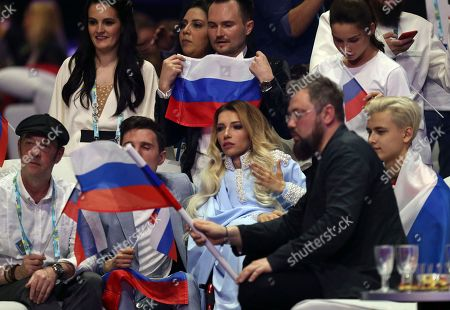 Stock Picture of Julia Samoylova from Russia waits for the results in Lisbon, Portugal, during the second semifinal of the Eurovision Song Contest. The Eurovision Song Contest grand final takes place in Lisbon on Saturday May 12, 2018