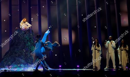 Julia Samoylova from Russia performs the song 'I Won't Break' in Lisbon, Portugal, during the second semifinal of the Eurovision Song Contest. The Eurovision Song Contest grand final takes place in Lisbon on Saturday May 12, 2018
