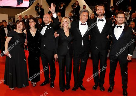 (L-R) Ewa Puszczynska,Tanya Seghatchian,  Borys Szyc, Joanna Kulig, director Pawel Pawlikowski, Tomasz Kot and guest arrive for the screening of 'Cold War' during the 71st annual Cannes Film Festival, in Cannes, France, 10 May 2018. arrives for the screening of 'Cold War' during the 71st annual Cannes Film Festival, in Cannes, France, 10 May 2018. The movie is presented in the Official Competition of the festival which runs from 08 to 19 May.
