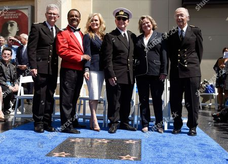 "Fred Grandy, Ted Lange, Jill Whelan, Gavin MacLeod, Cynthia ""Lauren"" Tewes, Bernie Kopell. Fred Grandy, from left, Ted Lange, Jill Whelan, Gavin MacLeod, Cynthia ""Lauren"" Tewes and Bernie Kopell, cast members on the TV series ""The Love Boat,"" pose together at a Friends of Hollywood Walk of Fame honorary star plaque ceremony for the cast and Princess Cruises, in Los Angeles"