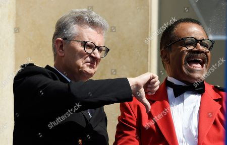 """Fred Grandy, Ted Lange. Fred Grandy, left, and Ted Lange, original cast members in the television series """"The Love Boat,"""" share a laugh at a Friends of Hollywood Walk of Fame honorary star plaque ceremony for the cast and Princess Cruises, in Los Angeles"""
