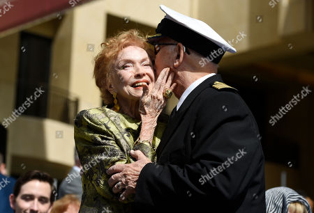 """Jeraldine Saunders, Gavin MacLeod. Jeraldine Saunders, left, co-creator of the television series """"The Love Boat,"""" gets a kiss from original cast member Gavin MacLeod at a Friends of Hollywood Walk of Fame honorary star plaque ceremony for the cast and Princess Cruises, in Los Angeles"""
