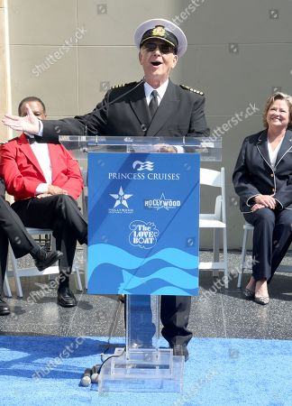 """Gavin MacLeod sings at the ceremony honoring Princess Cruises and the original cast of """"The Love Boat"""" with a honorary star plaque at the Hollywood Walk of Fame on in Los Angeles"""