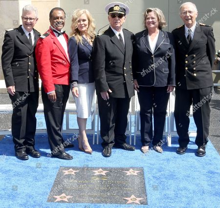 "Fred Grandy, Ted Lange, Jill Whelan, Gavin MacLeod, Lauren Tewes, Bernie Kopell. Fred Grandy, from left, Ted Lange, Jill Whelan, Gavin MacLeod, Lauren Tewes and Bernie Kopell attend the ceremony honoring Princess Cruises and the original cast of ""The Love Boat"" with a honorary star plaque at the Hollywood Walk of Fame on in Los Angeles"