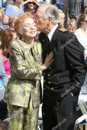 "Jeraldine Saunders, Bernie Kopell. Bernie Kopell, right, kisses Jeraldine Saunders at the ceremony honoring Princess Cruises and the original cast of ""The Love Boat"" with a honorary star plaque at the Hollywood Walk of Fame on in Los Angeles"