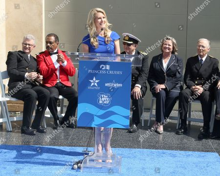 "Jan Swartz, Fred Grandy,Ted Lange, Gavin MacLeod, Lauren Tewes and Bernie Kopell. Jan Swartz, President of Princess Cruises, speaks at the ceremony honoring Princess Cruises and the original cast of ""The Love Boat"" with a honorary star plaque at the Hollywood Walk of Fame on in Los Angeles. Seated from left are Fred Grandy,Ted Lange, Gavin MacLeod, Lauren Tewes and Bernie Kopell"