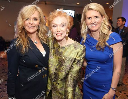 """Jill Whelan, Jeraldine Saunders, Jill Whelan. Jill Whelan, from left, Jeraldine Saunders and Jan Swartz, President of Princess Cruises, attend a gathering after the ceremony honoring Princess Cruises and the original cast of """"The Love Boat"""" with a honorary star plaque at the Hollywood Walk of Fame on in Los Angeles"""