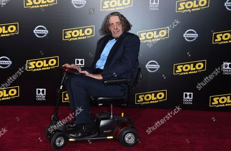 """Peter Mayhew arrives at the premiere of """"Solo: A Star Wars Story"""" at El Capitan Theatre, in Los Angeles"""