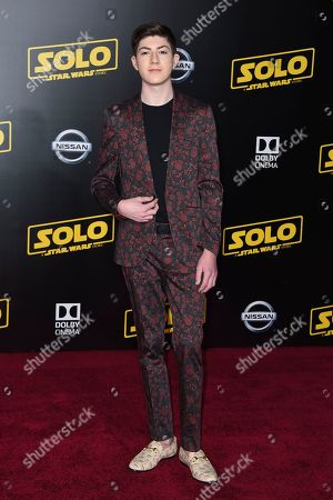 """Mason Cook arrives at the premiere of """"Solo: A Star Wars Story"""" at El Capitan Theatre, in Los Angeles"""